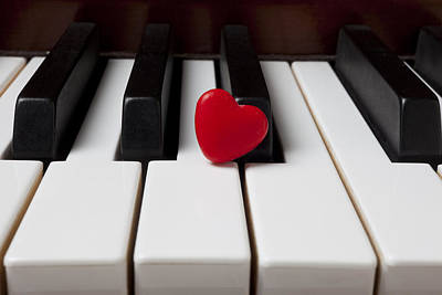 Keyboards Photograph - Red Candy Heart  by Garry Gay
