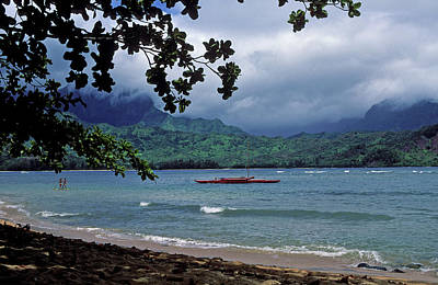 Red Canoe On Hanalei Bay Print by Kathy Yates