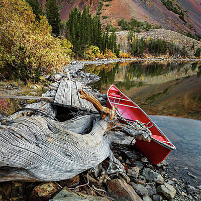 Photograph - Red Canoe On The Lake by Rick Strobaugh