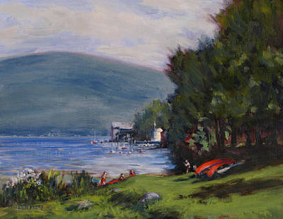 Painting - Red Canoes by Ken Fiery