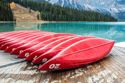 Photograph - Red Canoes Of Emerald Lake by Pierre Leclerc Photography