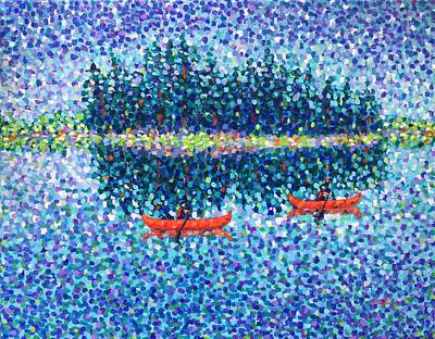 Painting - Red Canoes On The Lake by Cristina Stefan