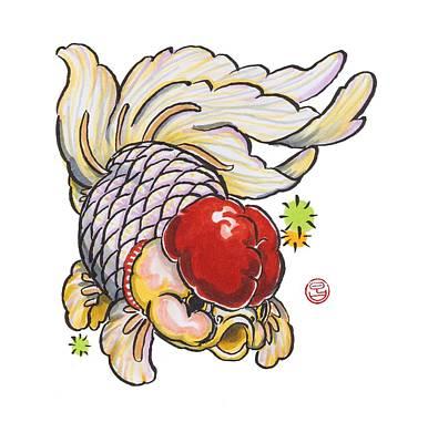 Red Cap Mixed Ranchu Print by Shih Chang Yang