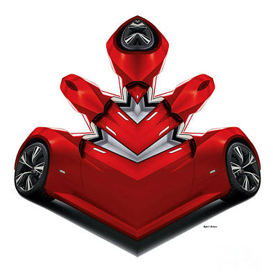 Digital Art - Red Car 0905 by Rafael Salazar