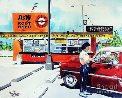 Painting - Red Car At The A And W by Tom Riggs