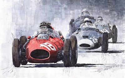 Hills Painting - Red Car Ferrari D426 1958 Monza Phill Hill by Yuriy  Shevchuk