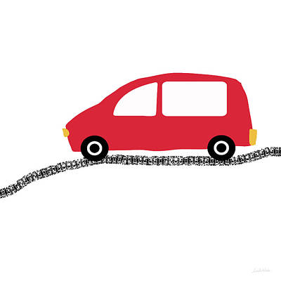 Juvenile Wall Decor Digital Art - Red Car On Road- Art By Linda Woods by Linda Woods