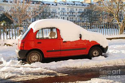 Photograph - Red Car On White by David Fowler
