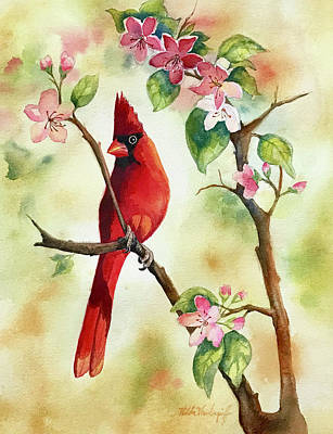 Painting - Red Cardinal And Blossoms by Hilda Vandergriff