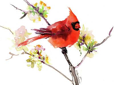Painting - red Cardinal Bird by Suren Nersisyan