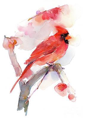 Red Cardinal Painting - Red Cardinal by John Keeling
