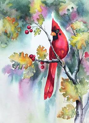 Painting - Red Cardinal With Berries by Hilda Vandergriff