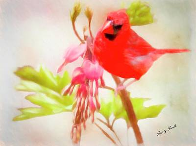 Digital Art - Red Cardinal With Red Flowers. by Rusty R Smith