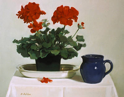 Painting - Red Carnations On A Silver Platter by Robert Holden