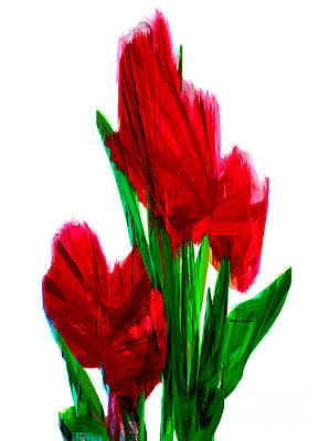 Digital Art - Red Carnations by Rafael Salazar