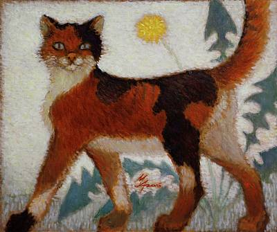 Painting - Red Cat by Attila Meszlenyi