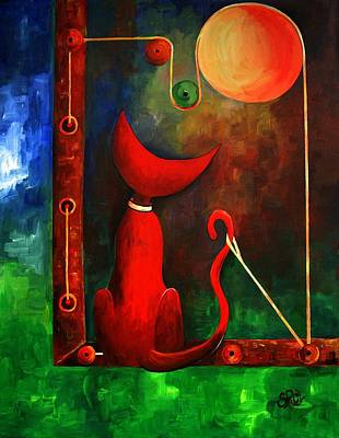 Nuit Painting - Red Cat Looking At The Moon by Silvia Regueira