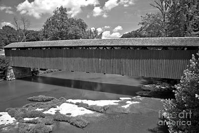 Photograph - Red Cataract Covered Bridge Black And White by Adam Jewell