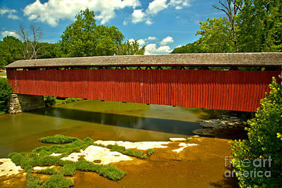 Photograph - Red Cataract Falls Covered Bridge by Adam Jewell