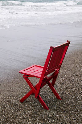 Folding Chair Photograph - Red Chair On The Beach by Garry Gay
