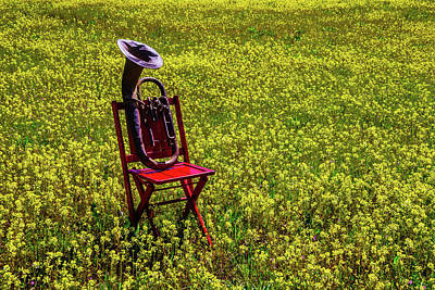 Tuba Photograph - Red Chair With Old Tuba by Garry Gay