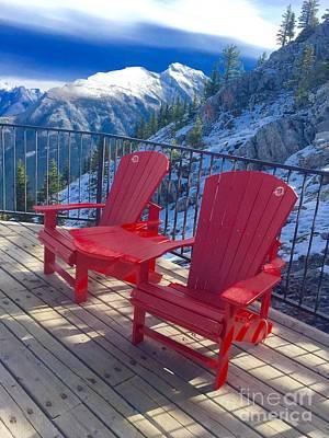Studio Graphika Literature - Red Chairs Banff by Susan Garren