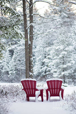 Photograph - Red Chairs By The Anderson Pond Winter by Edward Fielding