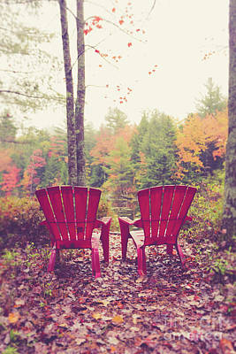 Photograph - Red Chairs By The Lake by Edward Fielding