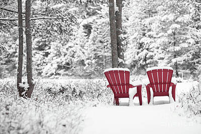 Photograph - Red Chairs In Winter Anderson Pond by Edward Fielding