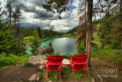 Photograph - Red Chairs Overlooking The Valley Of Five Lakes by Adam Jewell