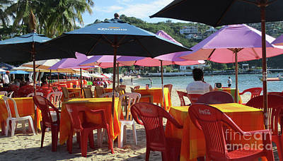 Photograph - Red Chairs Pink Parasols by Randall Weidner