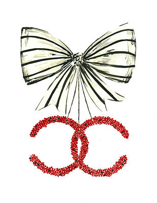 Foe Painting - Red Chanel Bow  by Koma Art