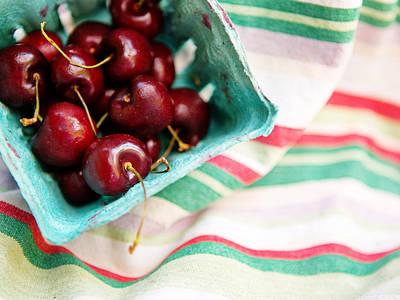 Photograph - Red Cherries In Basket by Rebecca Cozart