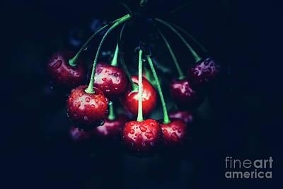 Photograph - Red Cherries On Dark Background. by Michal Bednarek