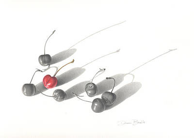 Original featuring the drawing Red Cherry by Donna Basile