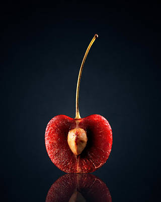 Studio Shot Photograph - Red Cherry Still Life by Johan Swanepoel