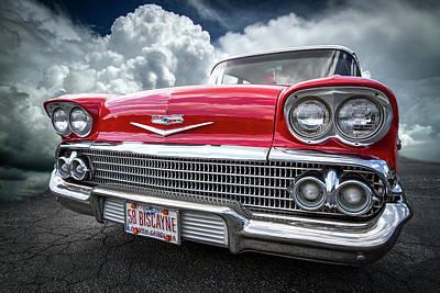 Chevrolet Biscayne Photograph - Red Chevrolet Biscayne 1958 by Debra and Dave Vanderlaan