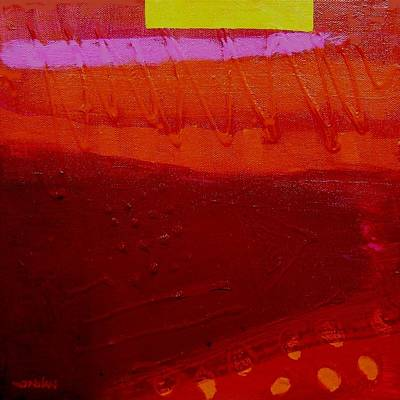 Abstract Jazz Painting - Red Chevron by John  Nolan
