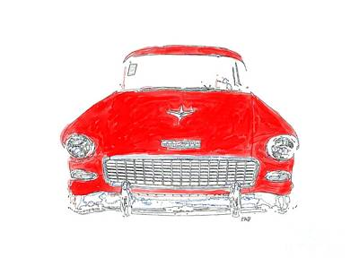 T-shirt Designs Drawing - Red Chevy T-shirt by Edward Fielding
