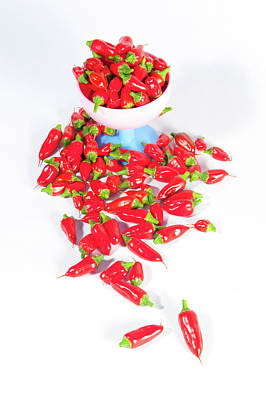 Photograph - Red Chillies In A Bowl V by Helen Northcott