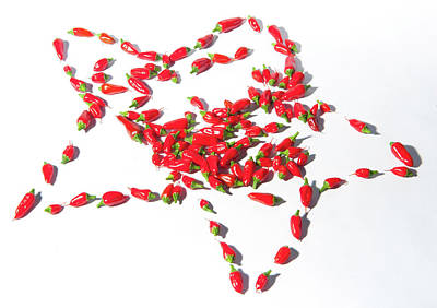 Photograph - Red Chillies Star by Helen Northcott