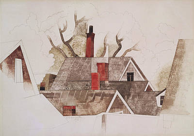Fine American Art Painting - Red Chimneys by Charles Demuth