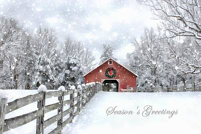 Photograph - Red Christmas Barn by Benanne Stiens