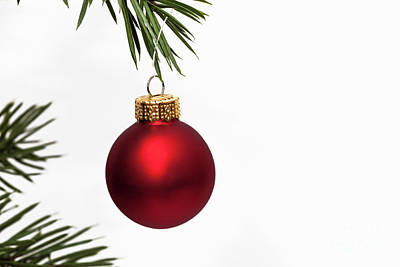 Photograph - Red Christmas Bauble by Diane Macdonald