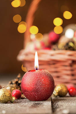 Christmas Candle Photograph - Red Christmas Candle  by Vadim Goodwill