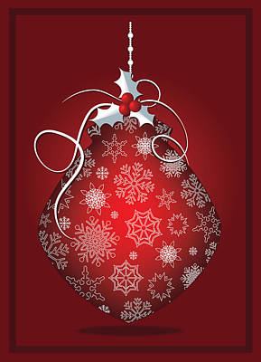 Digital Art - Red Christmas Snowflake Bulb Greeting Card by Serena King