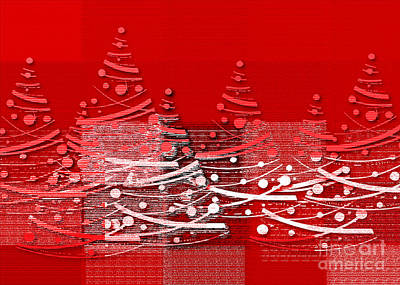 Print featuring the digital art Red Christmas Trees by Aimelle