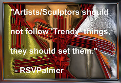 Digital Art -  Red Chrome Positioning - With Quotes by RSVPalmer