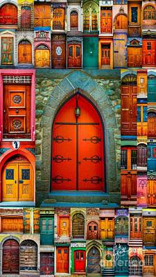 Photograph - Red Church Door Mosaic by TK Goforth