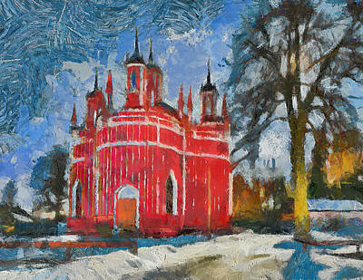 Moscow Digital Art - Red Church In Winter Scape by Yury Malkov